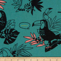 Cosmo Toucans Cotton/Linen Canvas Talking Toucan Toss Teal