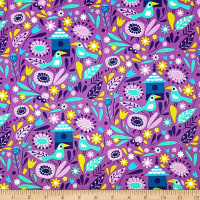 Spring Birds in Purple