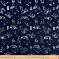 Wizarding World Fantastic Beasts Logo & Creatures Navy with Metallic