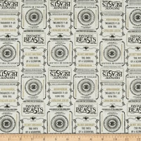 Wizarding World Fantastic Beasts Newsprint & Symbols in Cream with Metallic