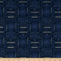 Wizarding World Fantastic Beasts Newsprint & symbols in Blue with Metallic