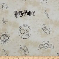 Camelot Wizarding World Harry Potter Symbols in Dark Cream