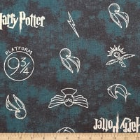 Camelot Wizarding World Harry Potter Symbols in Dark Teal