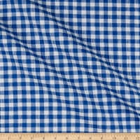 Stretch Seersucker Plaid Royal/White