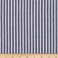 Cotton Tencel Twill Stripe Navy