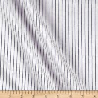 Tencel Poly Challis Stripe White/Navy