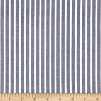 Cotton Lawn Stripe White Navy