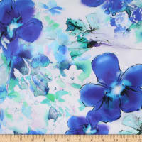 Telio Digital Cotton Stretch Sateen Floral Aqua Royal