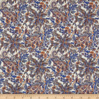 Liberty Fabrics Tana Lawn Faraway Paisley Blue/Orange