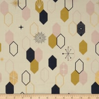 Birch Organic Fabrics Mod Nouveau Oblong Hex Metallic Blush