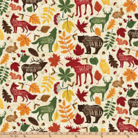Autumn Woods Animals and Leaves Beige