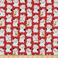 Northcott Sushi Lucky Cat Red Multi