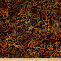Banyan Batiks Nostalgic Vibes Circles Black/Orange