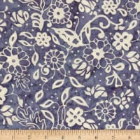 Northcott Banyan Batiks French Macaroon Navy Flowers