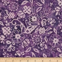 Northcott Banyan Batiks French Macaroon Purple Flowers