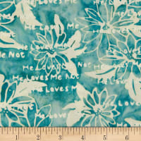 Northcott Banyan Batiks Daisy Chain Light Teal Print