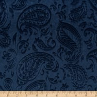 Shannon Minky Paisley Vine Embossed Cuddle Navy