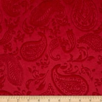 Shannon Minky Cuddle Embossed Paisley Vine  Red