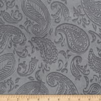Shannon Minky Paisley Vine Embossed Cuddle Silver
