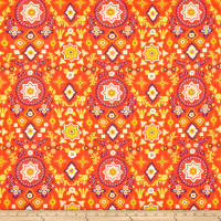 Art Gallery Aura Aloha Spirit Bonfire Rayon Challis Rust Orange