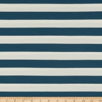 Art Gallery Striped Bold Mediterraneo Stretch Jersey Knit Blue & White