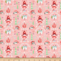 Riley Blake Little Red In The Woods Damask Pink