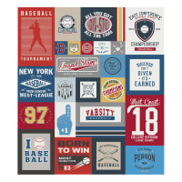 "Riley Blake Varsity Baseball Main 56"" Panel Gray"