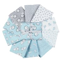 Kaufman Penned Pals Fat Quarter Bundles 8 Pcs Blue