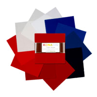 "Kaufman Kona Cotton 5"" Charm Squares 42 Pcs Patriotic"