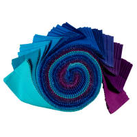 "Kaufman Kona Cotton 2.5"" Roll Ups 40 Pcs Peacock"