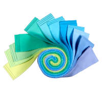 "Kaufman Kona Cotton 2.5"" Roll Ups 40 Pcs Mermaid Shores"