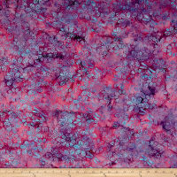 Island Batik All A Flutter Floral Dot Raspberry