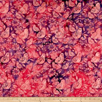 Island Batik All A Flutter Mixed Birds Mixed Berry