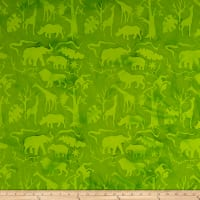 Island Batik Petting Zoo Jungle Animals Lime