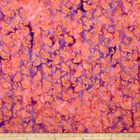 Island Batik Spring Blossoms Baby Birds Mixed Berry