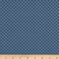 Stof Fabrics Denmark Hannah Basic Flat Flower With Dots Blue