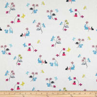 Stof Fabrics Denmark Hollie's Flowers Bunny, Butterfly, & Snail Allover Blue