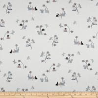 Stof Fabrics Denmark Hollie's Flowers Bunny, Butterfly, & Snail Allover Grey