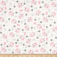 Stof Fabrics Denmark Hollie's Flowers Butterlies & Flowers Pink