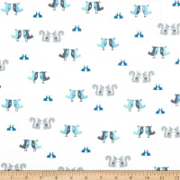 Stof Fabrics Denmark Hollie's Flowers Birds, Bunnies, & Squirrels Blue