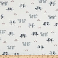 Stof Fabrics Denmark Hollie's Flowers Birds, Bunnies, & Squirrels Grey