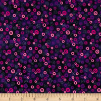 Stof Fabrics Denmark Rainbow Colours Circle & Dots Dark Purple