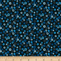 Stof Fabrics Denmark Rainbow Colours Circle & Dots Dark Blue