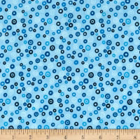 Stof Fabrics Denmark Rainbow Colours Circle & Dots Light Blue