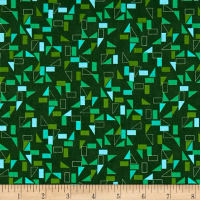 Stof Fabrics Denmark Rainbow Colours Squares & Triangles Green