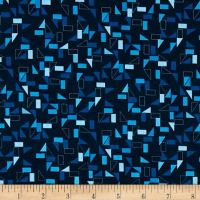 Stof Fabrics Denmark Rainbow Colours Squares & Triangles Blue