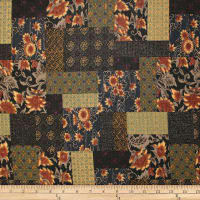 Trans-Pacific Textiles Asian Floral Block Patch Black