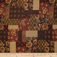 Trans-Pacific Textiles Asian Floral Block Patch Burgundy