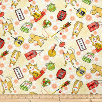 Trans-Pacific Textiles Asian Hachiko Year of the Dog Beige