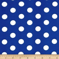 Double Brushed Poly Stretch Jersey Knit Medium Polka Dot White/Royal